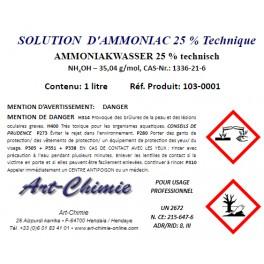 Solution aqueuse d' Ammoniac ou Ammoniaque min. 25% - 1 litre