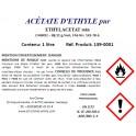 Acétate d'éthyle pur (C4H8O2) min. 99,2 %