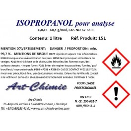 Alcool isopropylique pour analyse ( C3H8O ) min. 99,7 % - Isopropanol